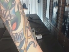 Red haired tattooed titless bitch was riding dildo on top on webcam