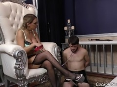 Dominant hottie rides the black dick in front of her pathetic partner