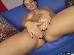 Big nipples brunette giving dick handjob then banged hardcore