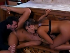 Jaye Summers and Liza Rowe recently had their first threesome with James Deen. He was licking the ass of Liza from behind, while she was kissing with Jaye. Jaye removed her bra and asked Liza to suck her melons. Then Liza sat on Jaye's face and she licked her pussy, before both girls sucked on James's big hard dick