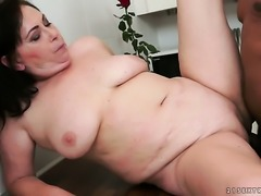 Mature with massive hooters and her man are so fucking horny in interracial action