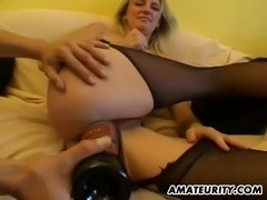 Glorious cowgirl in a pantyhose has her pussy spooked with insertions then humped