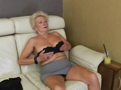 Granny with natural tits fingering her mature juicy pussy