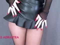 Miss Adrastea Black Nylon and Red Nails
