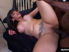 Insatiable busty vixen likes being nailed with a monster black shaft
