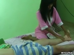 Adorable dark skin sexy maid gives sensual handjob