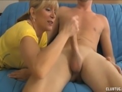Blonde Milf Jerks The Young Guy