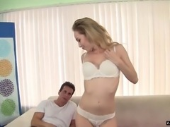 Pale skinny dame having her shaved pussy pounded doggystyle