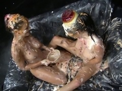 Food fight turns into an amazing lesbian fucking session