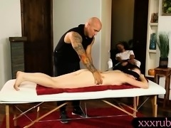Jessica Ryan fucked deep inside her twat on massage table