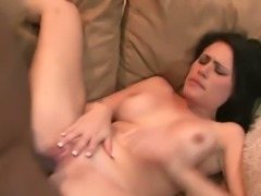 Busty ebony MILF Persia Black and tiny European bitch enjoy hard 4 some scene