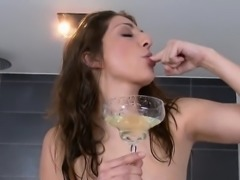 Adorable kitten is urinating and masturbating shaved snatch
