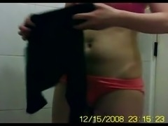 Amateur chick showing her hairy punani in the bathroom