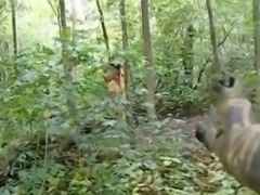 Hot girl dressed as an Indian sucks cock in the woods