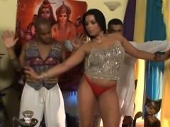 Curvy Indian women dancing seductively at the party