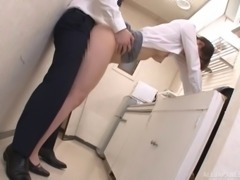 Bushy tunnel of love of an Asian babe pounded in the office