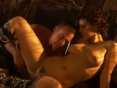 Curly haired Russian MILF with cute boobies Natasha enjoyed nasty oral sex with horny bartender