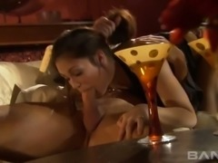 Stunning black haired housewife Faith Leon gets wild with her man after romantic supper