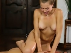 Busty big tits massues gets anal rammed by her client