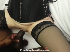 Horny chick in tight corset welcomes my black cock into her wet snatch