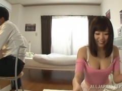 Captivating Asian pornstar having her big tits caressed passionately in reality shoot