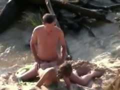 Kinky svelte nympho with nice bum was fucked from behind on the beach