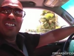 Hot closeup shoot of big black cock blasting tight pussy doggystyle