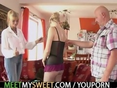 Lovely girl involved into her BF family 3some