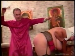 Chubby babe in sexy lingerie getting her big ass spanked by an old man