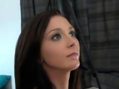 Adorable brunette follows instructions carefully