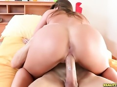 Brunette Abby Cross with bald snatch loves giving blowjob