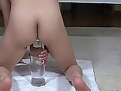 Extreme gigantic glass dildo fucking wife