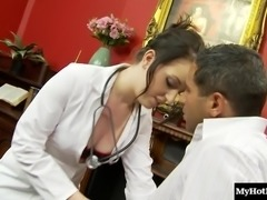 Sexy doctor attacks a hot guy for a great fucking game