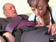 Alyssa Divine seduced by a mature hunk for a great fuck