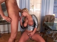 Marvelous and elegant lusty blondie with big breasts wants hardcore sex
