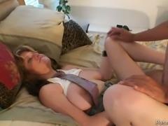 Full breasted torrid MILF got her kitty invaded in mish pose hard