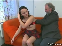 Brunette pippin kisses her BF and seduces old and ugly man