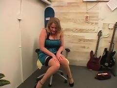 While dildoing her puffy snatch wearing heels