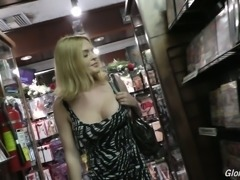 Busty and hot blonde milf gets in the gloryhole for hardcore interracial sex