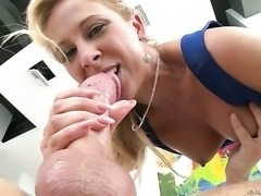 Blonde Cherie DeVille lets man insert his tool in her mouth