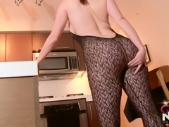 Hot Redhead Wife in body stocking fucks herself for you