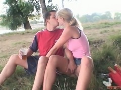 During a romantic boating salty blondie gives blowjob to aroused BF