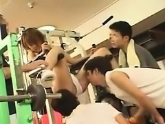 Nasty Japanese girl works her hands and lips on a gang of s