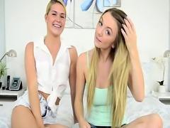 Lesbian teen rides dildo