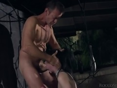 blindfolded sub chokes on rocco's fat cock @ rocco sex analyst