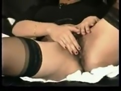 Black haired girl, with hairy pussy masturbation