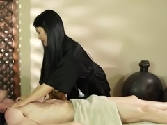 Long-haired Asian vamp Nari is the reason why horny hunk Ryan keeps on coming to the strip mall for a massage. She knows just how to rub him the right way - with her hands and her tongue! Regular massage turns into something more erotic, when she gets naked and kneels to give him a blowjob.