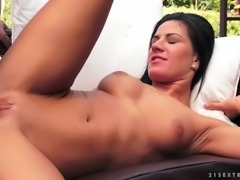 Shaved, young brunette gets her tight pussy licked and fucked by her older...