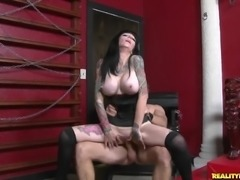 Heavily tattooed mature brunette with huge firm tits gets her tight shaved cunt fucked silly in the dungeon. Hard pussy slamming is what this dirty lady can't get enough of.