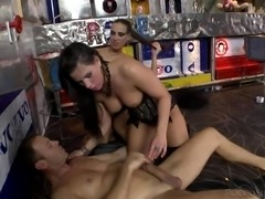 Her huge bubble butt looks amazing and Rocco uses her ass to the fullest, drilling her balls deep. Watch Mea sucking Rocco's dick and balls with great passion, while waiting for her turn. Hot threesome with Italian accent!